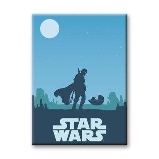 "Ata-Boy Aimant - Star Wars The Mandalorian - Mando et The Child ""Bébé Yoda"" Grogu Silhouette Lune"