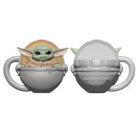 """Vandor Tasse - Star Wars The Mandalorian - The Child """"Bébé Yoda"""" Grogu dans son Transporteur en Céramique Sculptée 12 oz."""