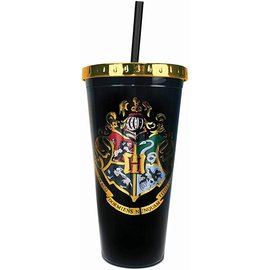 Spoontiques Travel Glass - Harry Potter - Hogwarts Crest with Straw 20oz