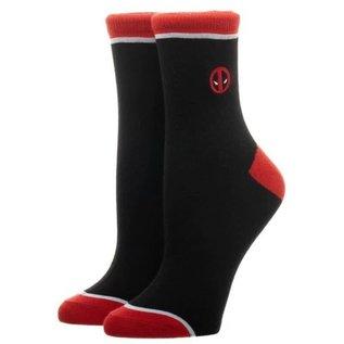 Chaussettes - Marvel Deadpool - Logo Brodé Noires et Rouges 1 Paire Chevilles