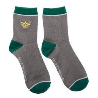 Chaussettes - The Legend of Zelda - Emblème d'Hyrule Brodé Grises et Vertes 1 Paire Chevilles
