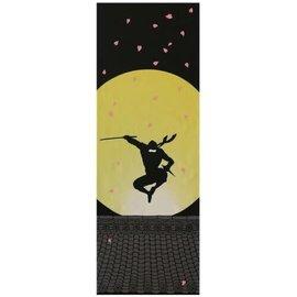 Maede Co. Hand Towel - Tenugui - Moonlight Ninja with Sakura Blossoms