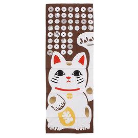 Kaya Hand Towel - Tenugui - Maneki-Neko Lucky Cat and Coins