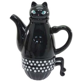 Shinzi Katoh Théière - Shinzi Katoh - Kuroneko Chat Noir Ensemble de thé pour deux personnes