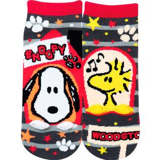 Js Planning Chaussettes - Peanuts - Snoopy et Woodstock Pattes en Relief 1 Paire Chevilles Courtes