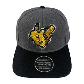 Bioworld Baseball - Pokémon - Pixelised Pikachu Embroidered Grey Adjustable