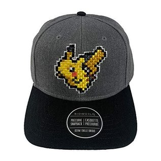 Bioworld Casquette - Pokémon - Pikachu Pixelisé Brodé Grise Ajustable