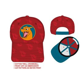 Bioworld Baseball Hat - Pokémon - Charizard Embroidered Red Adjustable