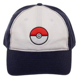 Bioworld Baseball Hat - Pokémon - Poké Ball Embroidered White and Blue Adjustable