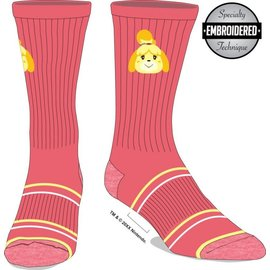 Bioworld Socks - Animal Crossing - Isabelle Embroidered Pink 1 Pair Crew