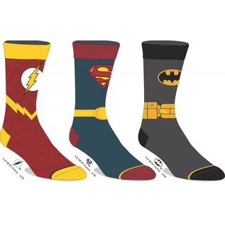 Bioworld Chaussettes - DC Comics Justice League - Logo de Flash, Superman et Batman Paquet de 3 Paires Crew