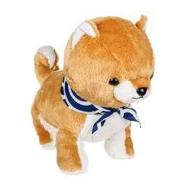 """Amuse Plush - Amuse Collection - Shiba Inu Gold with Blue and White Scarf 13.5"""""""