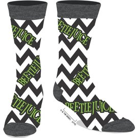 Bioworld Socks - Beetlejuice - Logo Vert Zigzag Black and White 1 Pair Crew