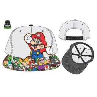 Bioworld Casquette - Nintendo Super Mario Bros. - Mario et Personnages Variés Grise Taille Enfant Snapback Ajustable