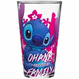 Silver Buffalo Glass - Disney Lilo & Stitch - Ohana Means Family Pink 16oz