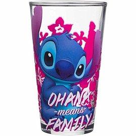 Silver Buffalo Verre - Disney Lilo & Stitch - Ohana Means Family Rose 16oz