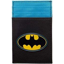 Bioworld Card Holder - DC Comics Batman - Metal Logo Blue and Black Faux Leather