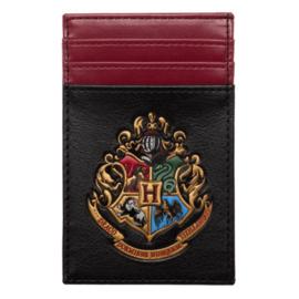 Bioworld Porte-Cartes - Harry Potter - Emblème de Poudlard Noir et Bourgogne en Faux Cuir