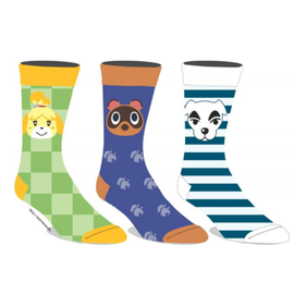 Bioworld Socks - Animal Crossing - Isabelle, Tom Nook and KK Slider with Various Motifs Pack of 3 Pairs Crew