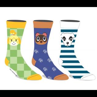 Bioworld Chaussettes - Animal Crossing - Isabelle, Tom Nook et KK Slider avec Motifs Variés Paquet de 3 Paires Crew