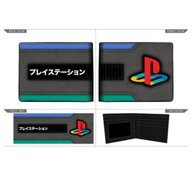 Bioworld Portefeuille - PlayStation - Colored Logo in Rubber and Katakana Faux Leather Bifold