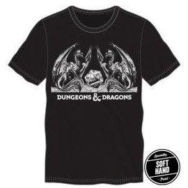 Bioworld Tee-Shirt - Dungeons & Dragons - Logo Classique avec Dragons et D20 Noir