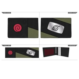 Bioworld Porte-Cartes - Naruto Shippuden - Uniforme de Kakashi avec Bandeau en Métal en Faux Cuir Bifold