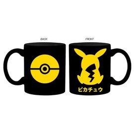 Silver Buffalo Tasse - Pokémon - Pikachu, Poké Ball et Katakana Noire 14oz