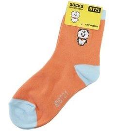 Ensky Studio Socks - BT21 Line Friends - Baby RJ Embroidered Orange and Blue 1 Pair Crew