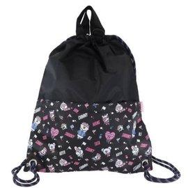 Ensky Studio Backpack - BT21 Line Friends - Characters Sports Series Black Drawstring Bag