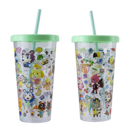 Paladone Travel Glass - Nintendo Animal Crossing New Horizons - Various Characters Green with Straw 23oz