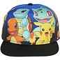 Bioworld Casquette - Pokémon - Pikachu, Charmander, Squirtle et Bulbasaur Bleue et Noire Snapback pour Enfants