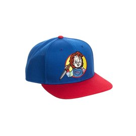 Bioworld Baseball Cap - Chucky - Chucky with Knife Embroidered Blue and Red Snapback Adjustable