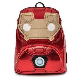 Loungefly Mini Sac à Dos - Marvel Iron Man - Iron Man Funko Pop! Lumineux en Faux Cuir