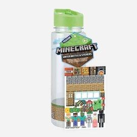 Paladone Bouteille de voyage - Minecraft - Personnalisable avec Autocollants avec Paille 21oz