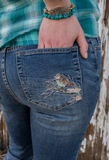 Embroidered Bird Denim