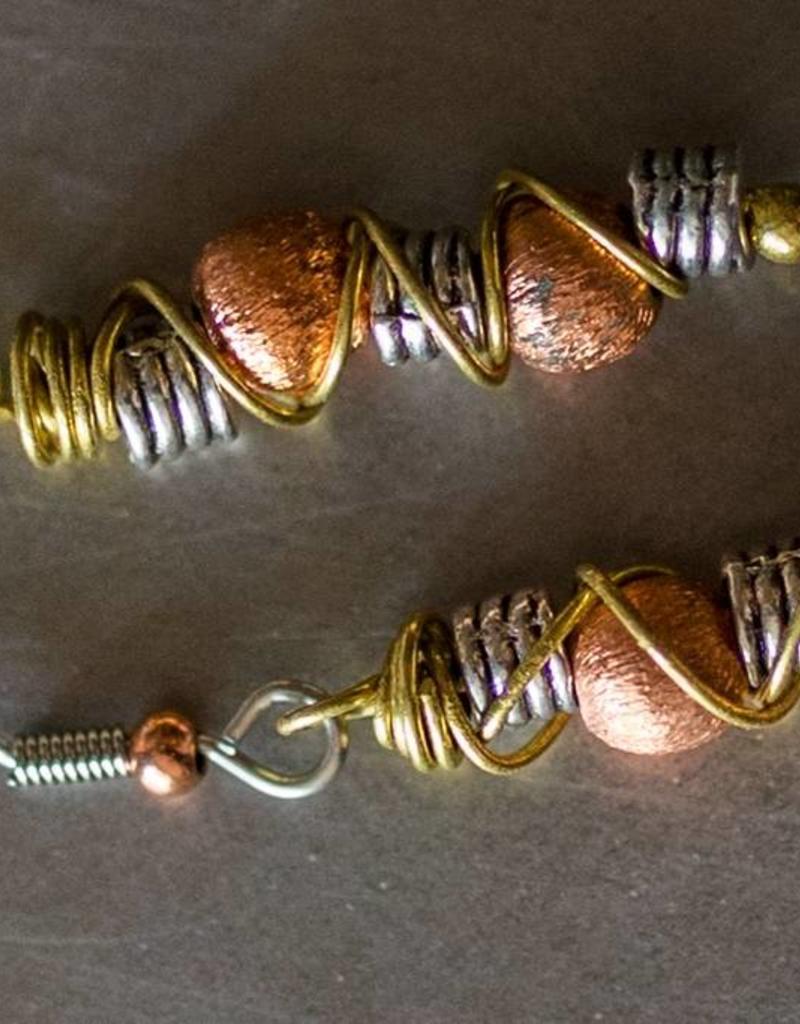 Stacked Copper Earrings