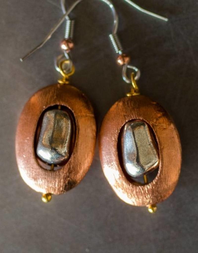 Copper Circular Earrings