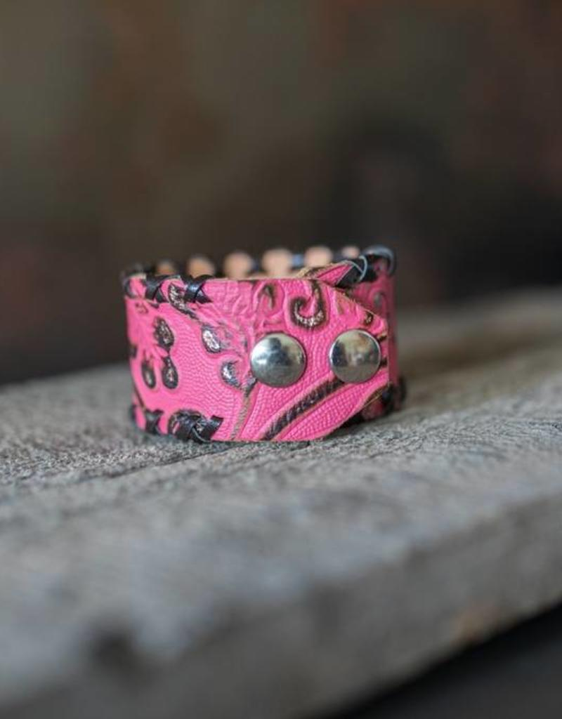 Pink Leather Cuff