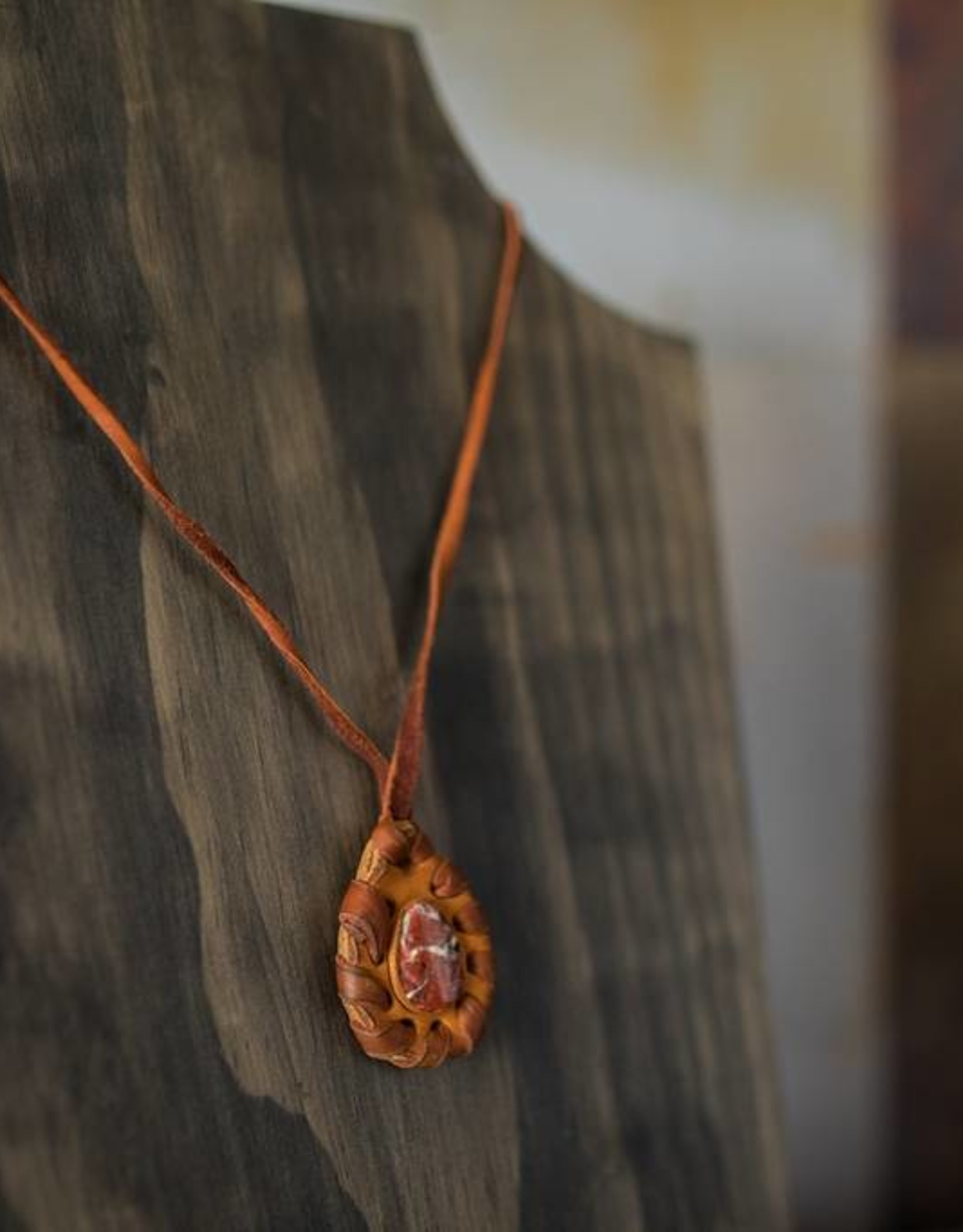 Handmade Leather Necklace (pink stone)