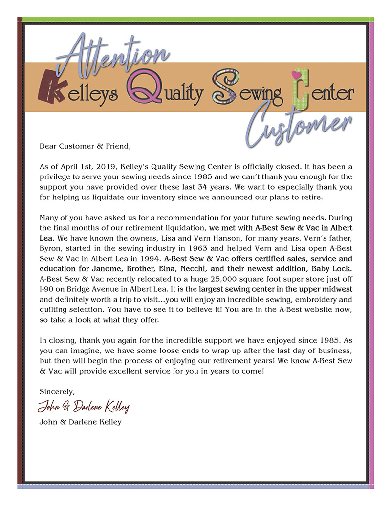 Attention Kelleys Quality Sewing Center Customers