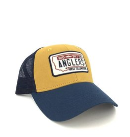Big Sky Anglers BSA Industrial Canvas Mesh Hat License Plate Whiskey/Navy/Navy