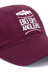 Big Sky Anglers BSA Epic Washed Twill Hat Maroon White Stack
