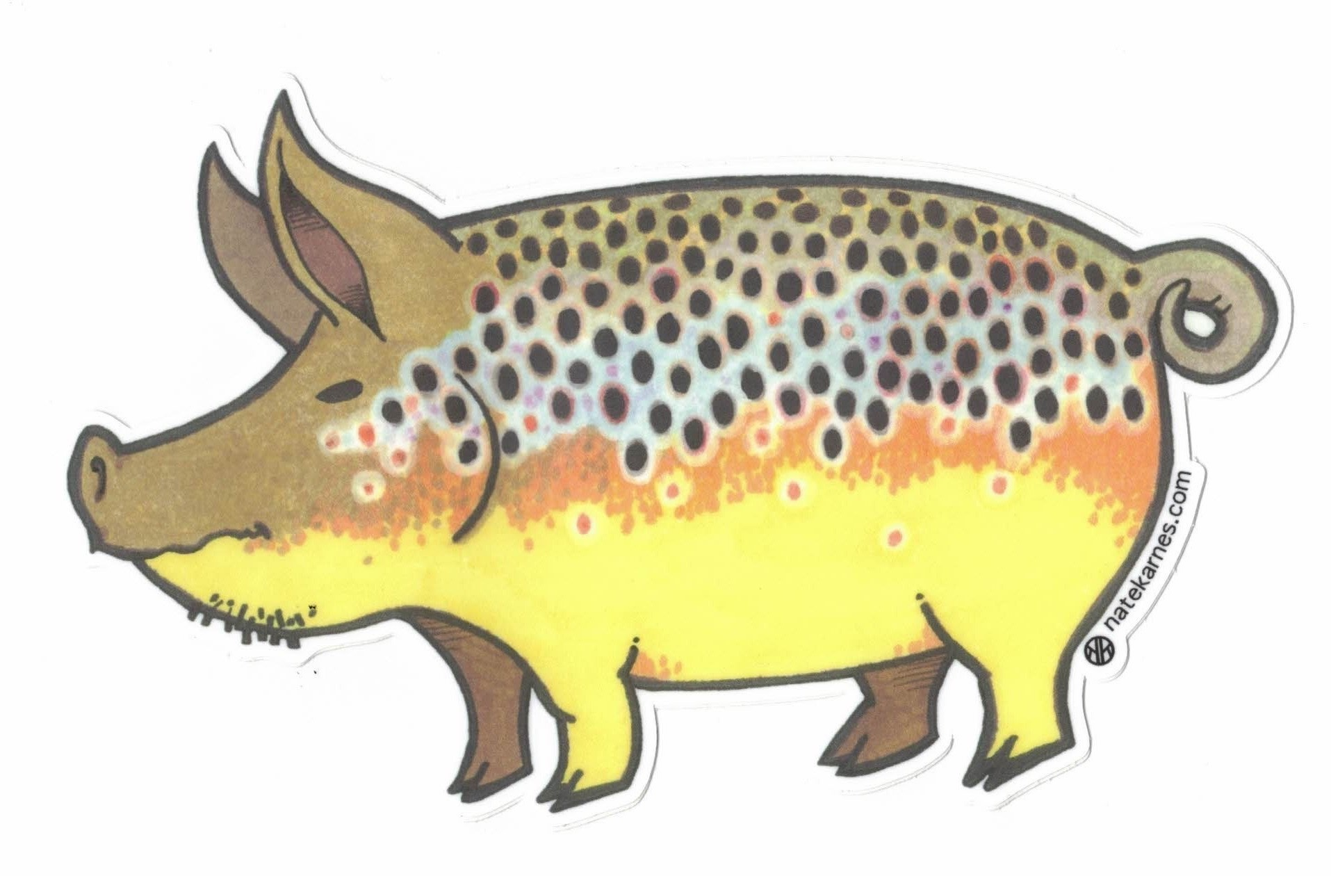 Casey Underwood Art Remedy Provisions Pig Sticker
