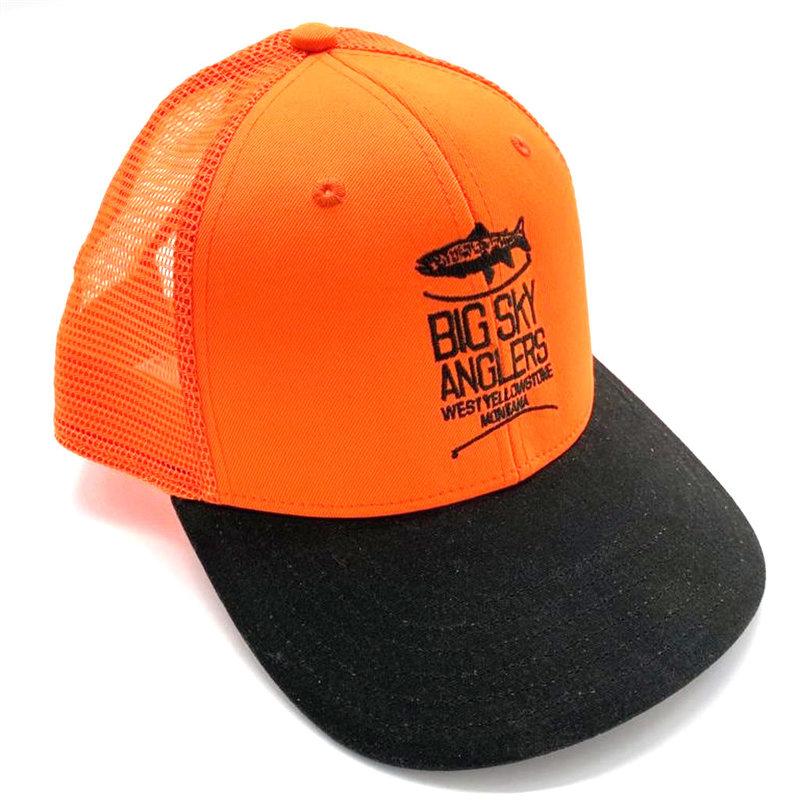 Big Sky Anglers BSA Logo Orvis Blaze Orange Mesh Hat