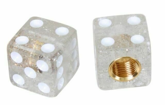 Trik Topz Valve Caps  - Dice - Glitter Silver