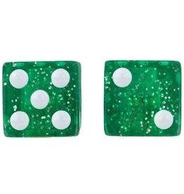 Trik Topz Valve Caps - Dice - Glitter Green