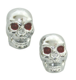 Trik Topz Valve Caps - Skull Head - Chrome