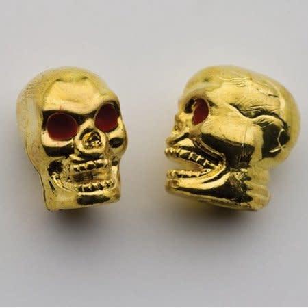 Trik Topz Valve Caps  - Skull Head - Gold
