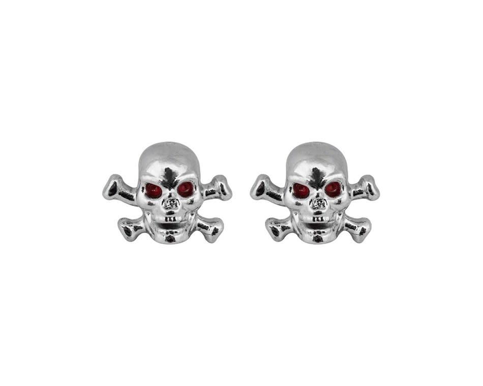 Trik Topz Valve Caps  - Skull/Cross - Chrome